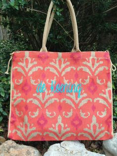 Jute Every Day Tote,  Pink and Orange Ikat  Free Shipping  Embellish Accessories and Gifts  $32 Personalized Monogram