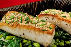 Sesame-Chive Butterfish with Buttered Edamames and Spinach