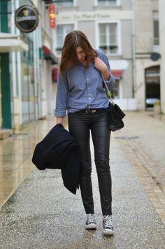 chemise chambray american apparel pantalon simili cuir converses