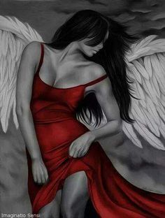 Engel in rot - Home Decor Tattoos Motive, Bild Tattoos, Angel Y Diablo, Transférer Des Photos, Engel Tattoos, Ange Demon, Angels And Demons, Fallen Angels, Dark Angels