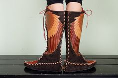 MADE TO ORDER  Winged Leather Moccasins by ravenmountain on Etsy, $340.00