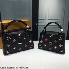 Louis Vuitton Taurillon Leather Capucines PM Bag With Mechanical Flowers M54311