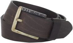 Diesel Men's Bentley Service Belt, Brown, 105 Diesel. $68.00. Dry Clean Only. Logo on buckle. Made in Romania. 100% Leather. 100-percent leather. Crinkle effect