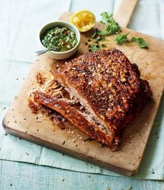 Slow-roast fennel and coriander pork belly with salsa verde