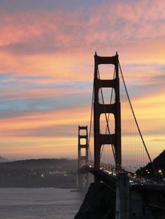 Golden Gate Bridge from the North Side at Sunset.  Beautiful!