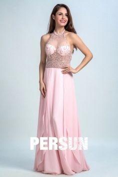 Pink Prom Dresses Long A-line High Neck Floor-length Chiffon Prom Dress/Evening Dress Pink Evening Dress, Evening Dresses, Dress P, Dress For You, Prom Dresses Long Pink, Formal Dresses, Camille, Bustier, Marie