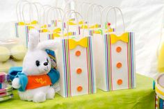 Fun favor bags at a circus birthday party! See more party planning ideas at CatchMyParty.com!