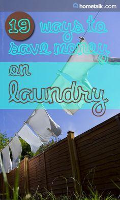19 ways to save money doing laundry.