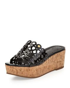 Dunn Patent Scroll Platform Slide by Tory Burch at Neiman Marcus.