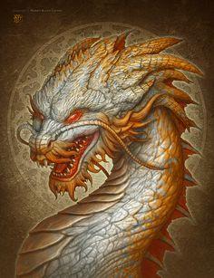 Oriental Dragon by kerembeyit, #Dragon Portrait painting, chinese mythology, japanese, #oriental, digital painting, illustration, inspirational #art