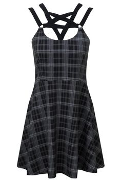 Bittersweet Babydoll Dress [B] | KILLSTAR Meet the 'Bittersweet' babydoll - crafted from a smooth cotton-blend jersey, perfect for late summer days as well as midnight parties. Frames your face perfectly with pentagram strap detailed front and flattering silhouette.