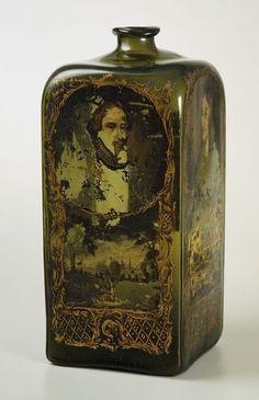 Antique Glass Bottles, Apothecary Bottles, Vintage Perfume Bottles, Painted Bottles, Glass Ceramic, Ceramic Art, Ceramic Pottery, Gin Bottles, Bottles And Jars