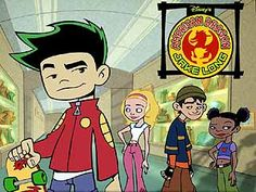 American dragon: Jake Long, funny thing is, the girl he likes (pink pants) actually is supposed to be his arch enemy [plot twist!]!