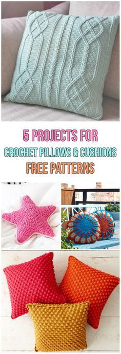 5 Simple Crochet Pillows and Cushions Projects Free Patterns #diy #diyproject #howto #crochet #crochetpattern #freepattern #pillows #cushion #homedecor #homedecorideas #handmade #handcrafted #yarn #hook #sofaideas #heart #colours #triangle #buttons #pink #red #yellow #orange #diamond