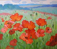 The Art World directory of artists from Ukraine features Ukranian artist Helen Kishkurno - Oil Painting by Helen Kishkurno. Art World, Poppies, Arts And Crafts, Flowers, Painting, Ukraine, Artists, Gift Crafts, Painting Art