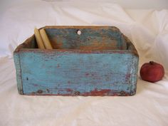 Early 19th C Hanging Wall Candle Box Fabulous Robins Egg Blue Paint | eBay sold 219.47