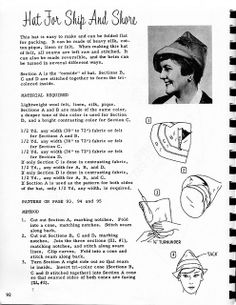 Hat for Ship and Shore by kuki.deprada.net ... the millinery blog, via Flickr  I really want to make one or more of these - should be a good way to use up some upholstery-weight remnants.