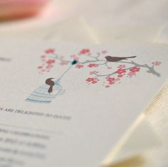 'Love Birds' Personalised Wedding Invitation