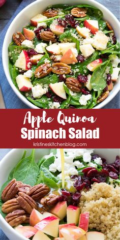 This Spinach and Quinoa Salad with Apple is perfect for lunch or a side dish. With cranberries, pecans and goat cheese, this healthy salad is a favorite! #spinachsalad #salads Healthy Lunches For Work, Healthy Salads, Easy Healthy Recipes, Quick Easy Meals, Lunch Recipes, Beef Recipes, Salad Recipes, Chicken Recipes, Healthy Eating