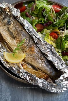 Lemon Stuffed Mediterranean Sea Bass, Branzino, Cooked In Foil Fish Dishes, Seafood Dishes, Seafood Recipes, Cooking Recipes, Healthy Recipes, Whole Sea Bass Recipes, Mediterranean Recipes, Mediterranean Sea, How To Cook Fish