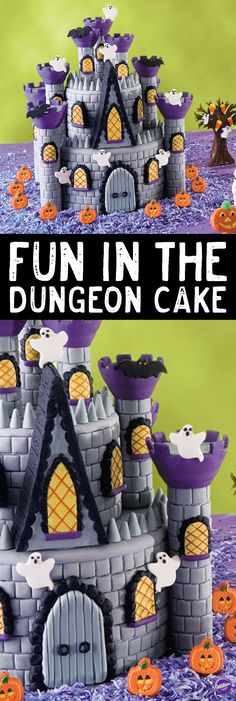 """Learn to make this """"Fun in the Dungeon Cake"""" that captures the ghostly glow of a Transylvanian twilight. Great details pop up from every corner, including fondant masonry, lattice windows, hovering ghosts and bats in the belfry. It serves as a great centerpiece for your Halloween gathering."""