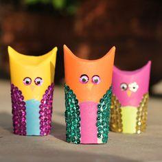 Toilet Paper Sequin Owls!