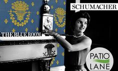 Theodore Roosevelt first stripped away the Victorian décor and replaced it with a satin lampas designed by Schumacher. Jackie Kennedy carried this tradition, bathing the walls of Blue Room in the appropriate tone.