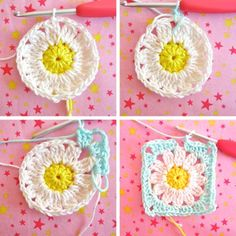 crochet quare - flower - diy - step by step