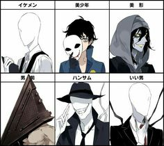 Slenderman, Bloody Painter, Offenderman, Tenderman, Pyramid Head, text, cool; Creepypasta  Please tell me the names of the missing Creepypasta if you know