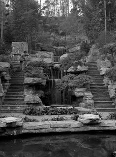 Waterfall and rock garden located behind the Los Angeles Police Academy in Elysian Park. 1956 photo