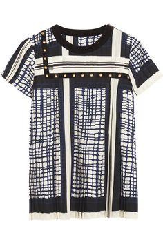 Black, white and blue crepe, black velvet  Slips on 100% polyester Dry clean