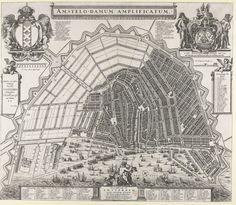 Plattegrond van Amsterdam met het ontwerp van de stadsuitbreiding van Daniel Stalpaert, Daniel Stalpaert, A. Besnard, Frederik de Wit, 1657