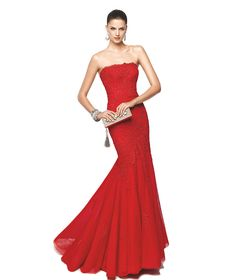 Vestido de festa vermelho corte sereia Modelo Nioko - Pronovias 2015