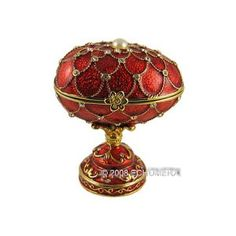 Faberge Egg Music Jewelry Box Royal Red Bejeweled.
