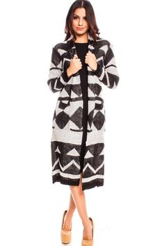 BLACK WHITE LONG SLEEVE OPEN FRONT LONG CAUSAL KNITTED CARDIGAN