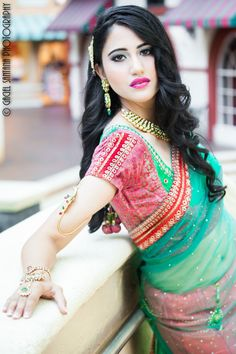 Indian Wedding Hair Accessories and Necklace - pink lips and green eyeshadow. Jewelry by Belsi's Collection. Buy here - http://www.indianweddingsite.com/dazzling-jewelry-fashion-shoot-featured-vendor-belsis-collection/