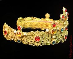 Byzantine D G Crown Swarovski 24 K Gold Red Handmade Tiara Headband Fashion | eBay