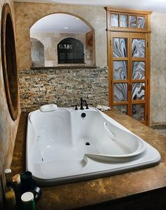Bath tub for two. Not gonna happen, but I wish it could! Spa Bathroom Design, Bathroom Spa, Bathing, Relax, In This Moment, Modern, House, Swim, Home