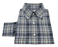 Luxire button down collar shirt constructed in  Madras Navy Green Checks Linen http://custom.luxire.com/products/navy-green-checks-linen