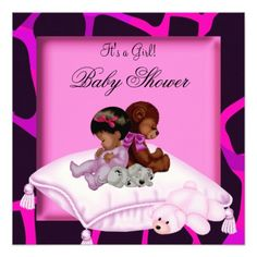 African American Baby Shower Girl Hot Pink Bear Custom Invitations
