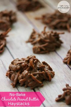 No-Bake Chocolate Peanut Butter Haystacks - only four ingredients for this sweet no-bake treat! When you want a fast recipe for dessert--it doesn't get much better than this!