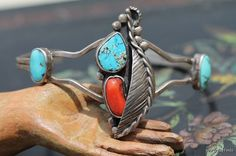 Vintage Southwestern Navajo Style Sterling Silver Turquoise Red Coral Cuff Bracelet