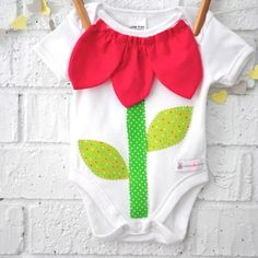 Handmade Flower Pot Baby Girl Onesie by Bubby Makes Three