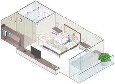 Isometric Hotel Room Illustration Royalty Free Stock Vector Art Illustration
