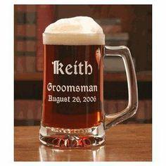 Personalized Set of 6 Beer Mug 12.5oz Groomsman Mug - Free Engraving by Shivam, http://www.amazon.com/dp/B005DI4SHK/ref=cm_sw_r_pi_dp_0MMVpb0NKX4NC