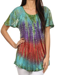 Sakkas 14783 - Dina Relaxed Fit Sequin Tie Dye Embroidery Cap Sleeves Blouse / Top - Turquoise - OSP Sakkas http://www.amazon.com/dp/B00UF80R6O/ref=cm_sw_r_pi_dp_WE0Gvb04VC35H