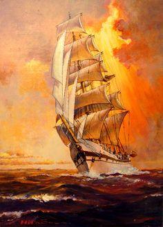 Sailing Ship -Sunset- by Hideo Yamato, via Behance Benfica Wallpaper, Old Sailing Ships, Ship Paintings, Seascape Paintings, Ship Drawing, Boat Art, Wooden Ship, Nautical Art, Ship Art