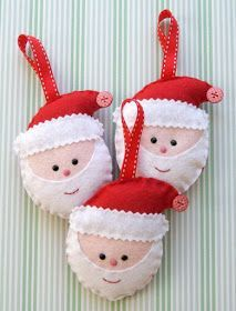 Set of Three wool mix Felt Santa Decorations . All hand cut and hand sewn using quality wool mix felt these Santas are tall by wide. Santa Decorations, Felt Christmas Decorations, Felt Christmas Ornaments, Santa Ornaments, Christmas Projects, Felt Crafts, Holiday Crafts, Christmas Sewing, Handmade Christmas