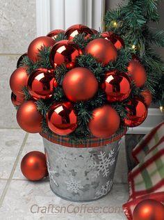Tinsel Tuesday: Ballard Designs knock off – DIY Ornament Topiary Christmas Topiary, Silver Christmas Decorations, Cool Christmas Trees, Christmas Centerpieces, Simple Christmas, Christmas Themes, Christmas Crafts, Christmas Ornaments, Holiday Decor
