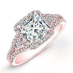 Amazon.com: 1.05 carat Princess & Round Brilliant Cut Diamond Halo Anniversary Engagement Ring in 14k Rose Gold: Jewelry